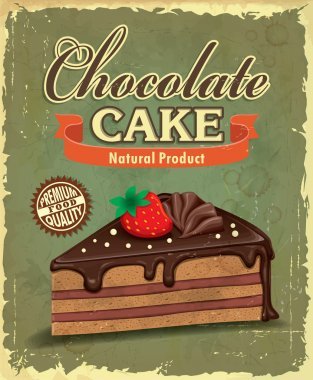 Vintage chocolate cake poster design