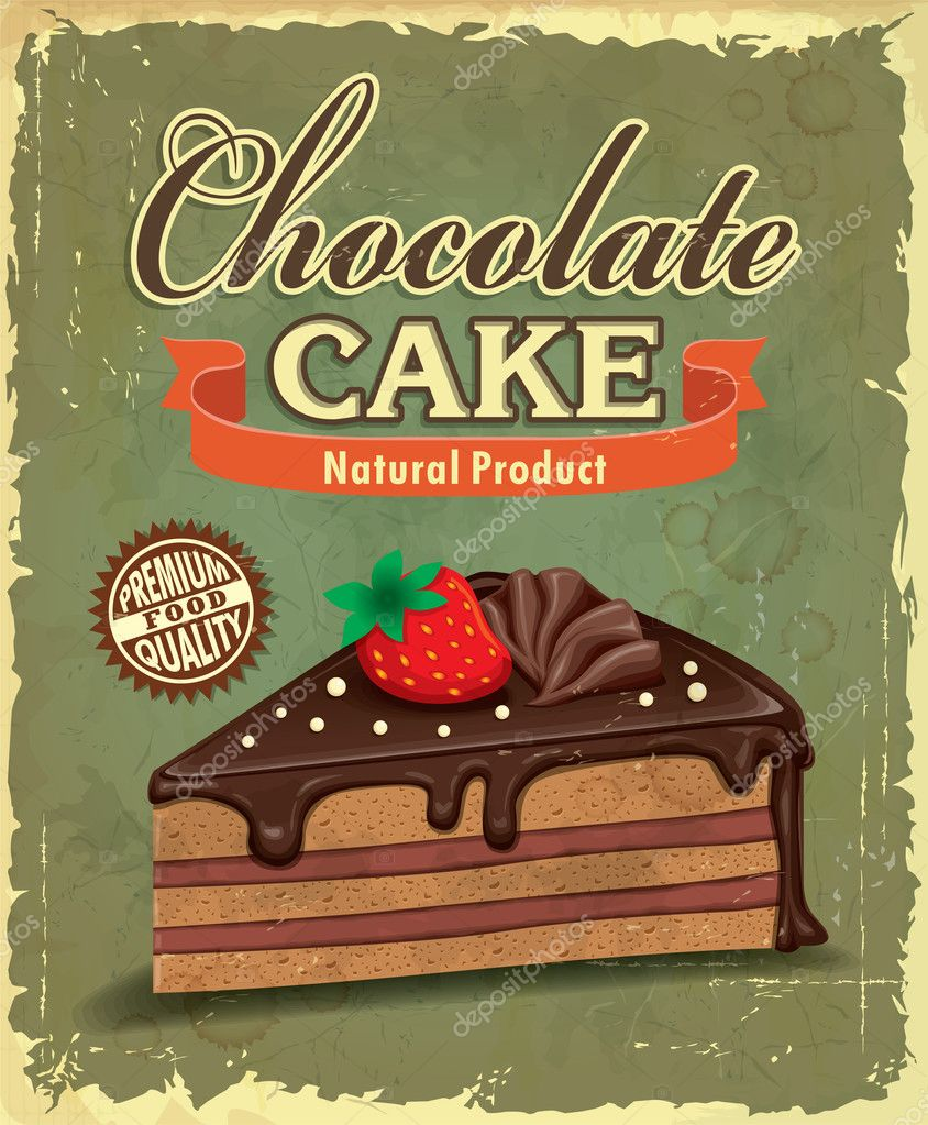 Poster design vintage - Vintage Chocolate Cake Poster Design Stock Vector 38755715