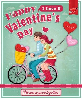 Vintage Valentine poster design stock vector