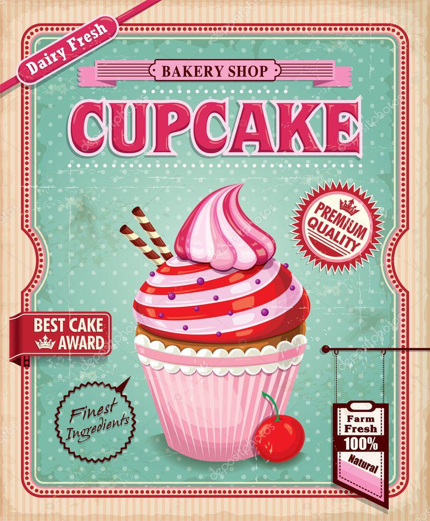 vintage cupcake poster design — stock vector © donnay #39676019