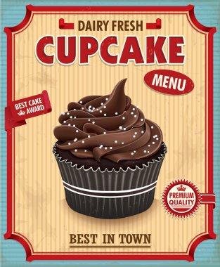 Vintage chocolate cupcake poster design