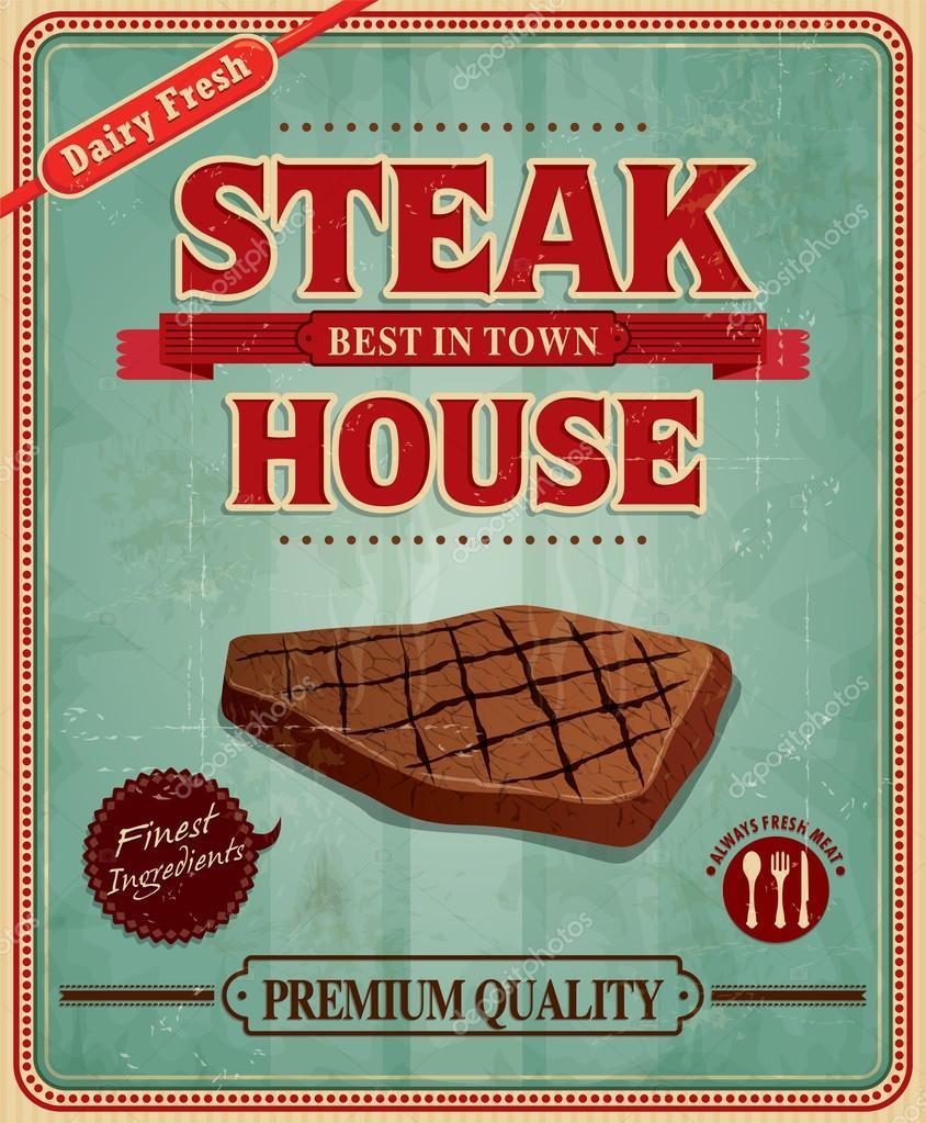 Poster design vintage - Vintage Steak House Poster Design Stock Vector 42307109