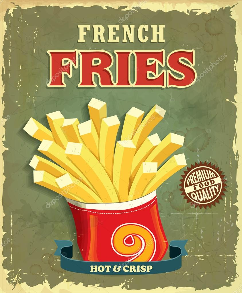 Vintage french fries poster design u2014 Stock Vector u00a9 Donnay #45088387