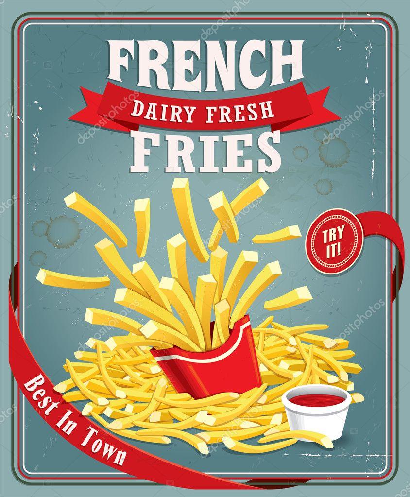 Vintage french fries poster design