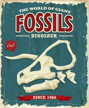 Vintage Dinosaur fossils poster design