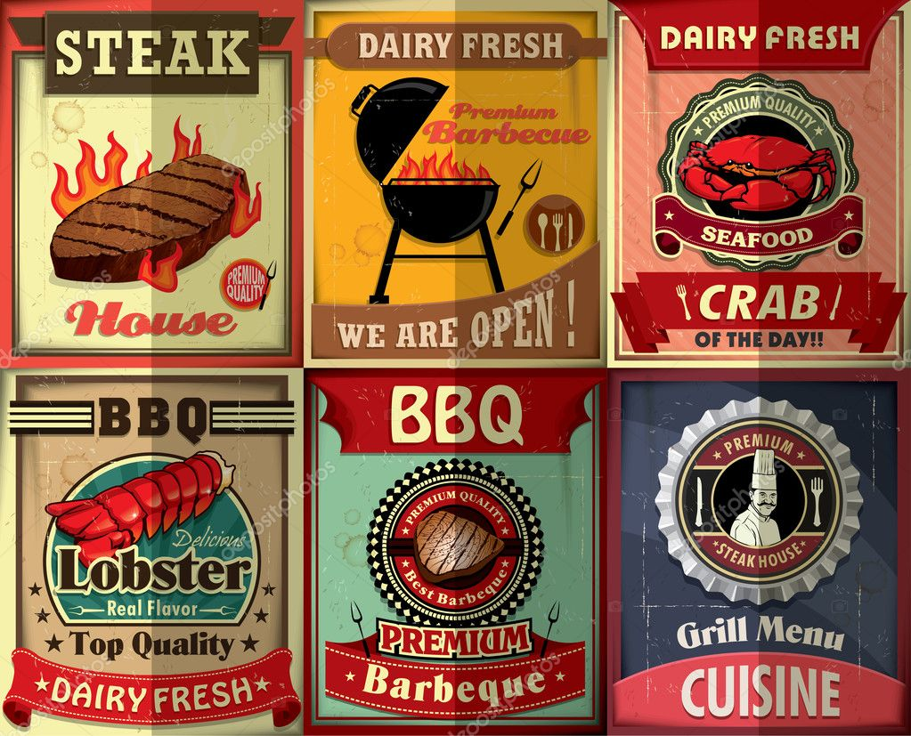 Vintage BBQ steak poster design set