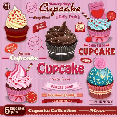 Vintage Cupcake poster set design
