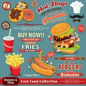 Vintage rychlého občerstvení plakát sada design s hamburgery, hranolky, nápoj, koblihy