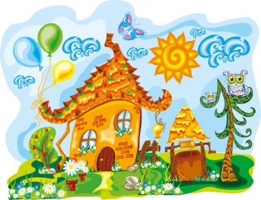 Fairy house in bright cute dreamworld