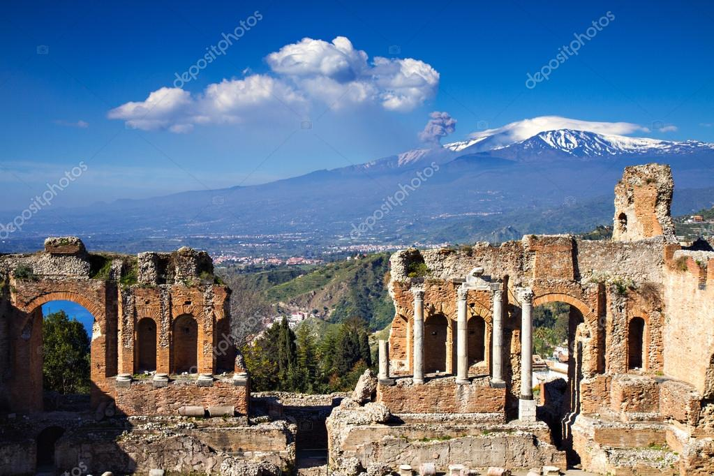 Ruins of the Greek Roman Theater, Taormina, Sicily, Italy