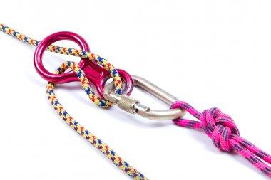 Climbing equipment - rope, carabiner, figure eight