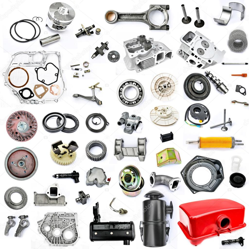 Collection of components power tiller on a white background