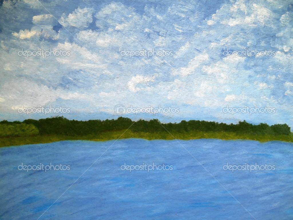 絵画性質空と湖の青色の背景 — ...
