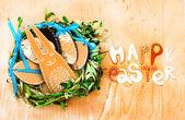 Fotografie Ostereier und Hase mit Schriftzug Frohe Ostern