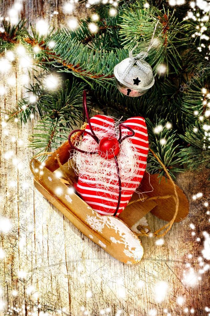 Addobbi Natalizi Vintage.Composizione Di Natale Con Slitta Vintage Sfondo Di Natale Con