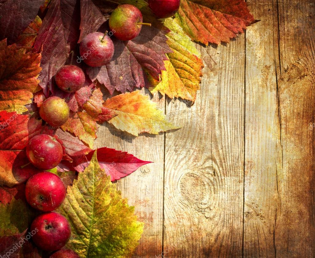 Vintage Autumn Border From Apples And Fallen Leaves On Old Wooden Table Thanksgiving Day Concept Background With Photo By Avgustin