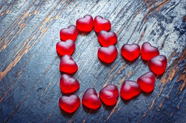 Red heart shaped candies
