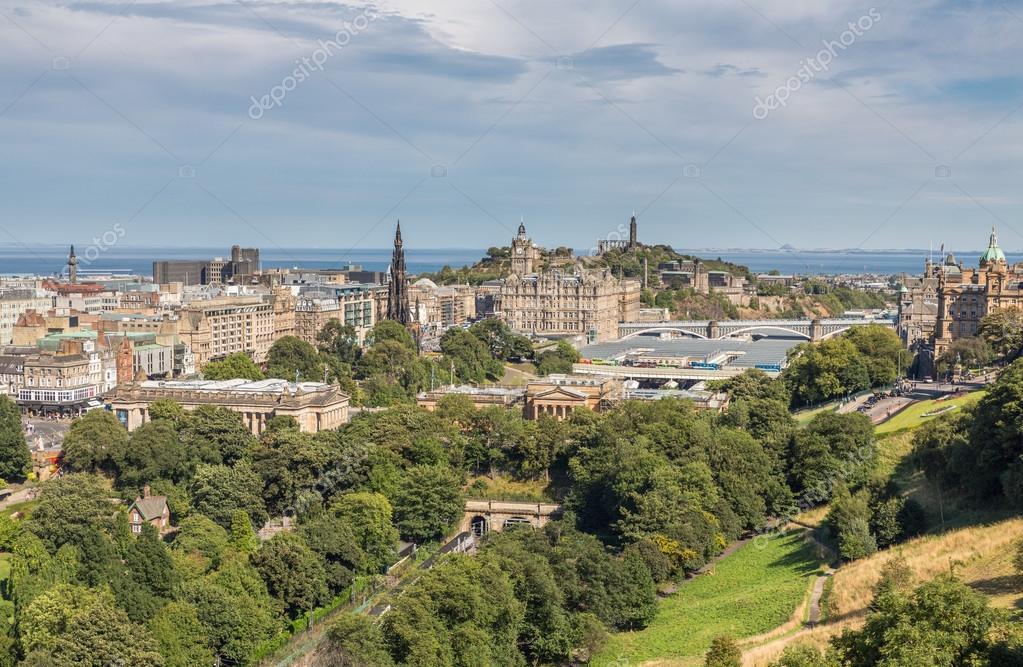 Scott monument, Carlton Hill and gardens in Edinburgh