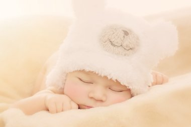 Newborn baby in bear hat