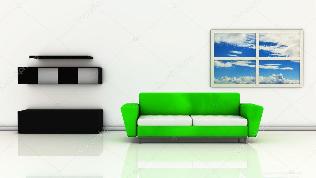 3D-groene woonkamer met sofa — Stockfoto © Changered #16968681