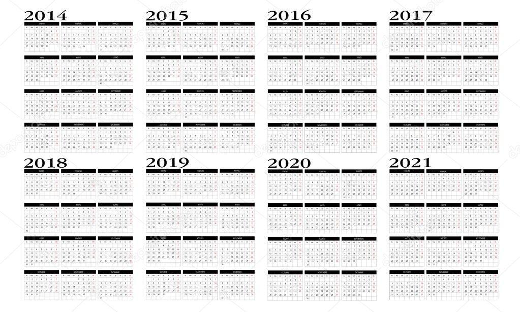2014 To 2020 Calendar Calendar 2014 to 2021 — Stock Vector © Changered #23766543