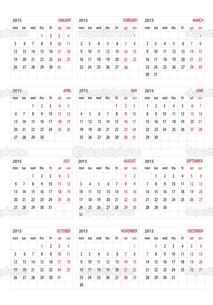 2015 Kalender — Stockvektor © Changered #47404905