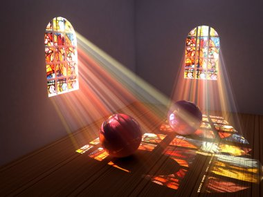 Interior of a room with stained glass windows