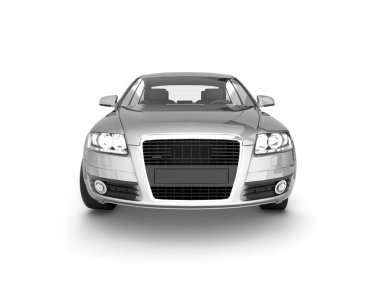 Front view of silver Audi A6 on white background
