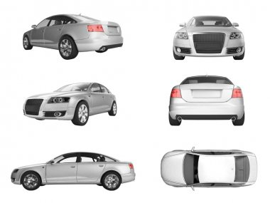 Six different views of 3D image of silver Audi on white background
