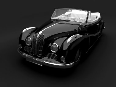 Vintage black car on dark background