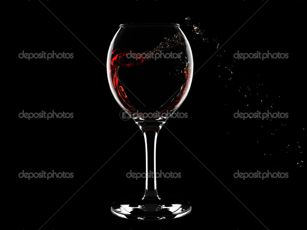 20d24a98f066 Isolated wine glass with red wine heart-like curl inside it and splashes  outside —