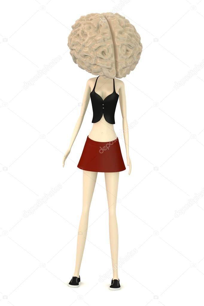 Animato: personaggio cartone con testa grande. rendering 3d del
