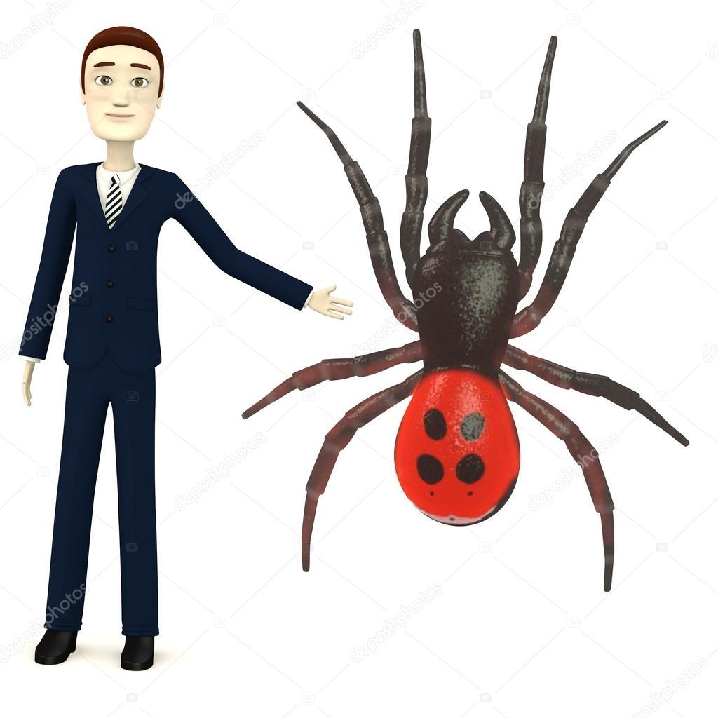 Rendering d del personaggio dei cartoni animati con eresus ragno