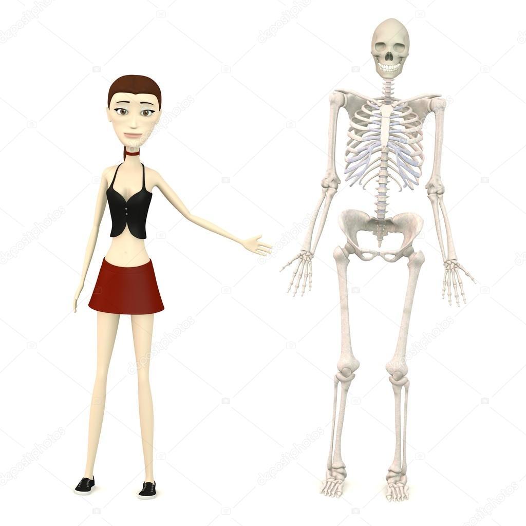 Rendering d del personaggio dei cartoni animati con scheletro