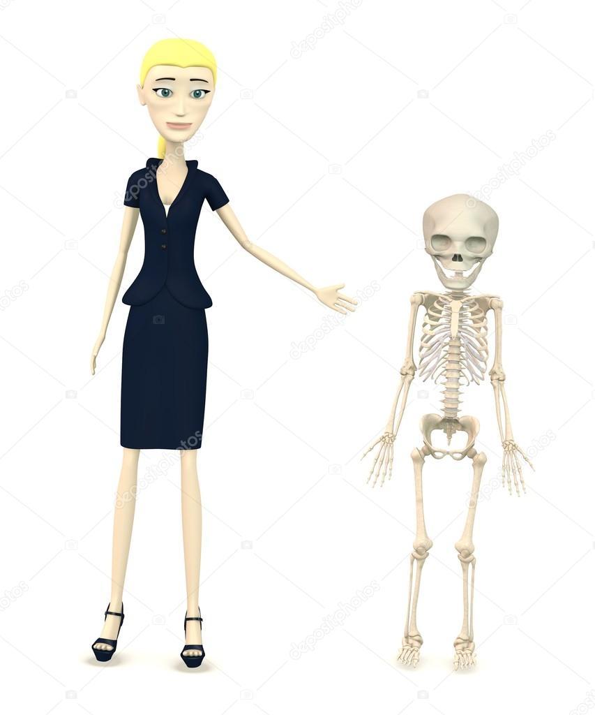 Rendering d del personaggio dei cartoni animati con lo scheletro