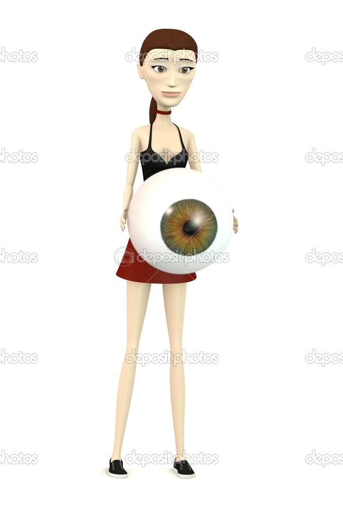 render 3d do personagem de desenho animado com olho grande