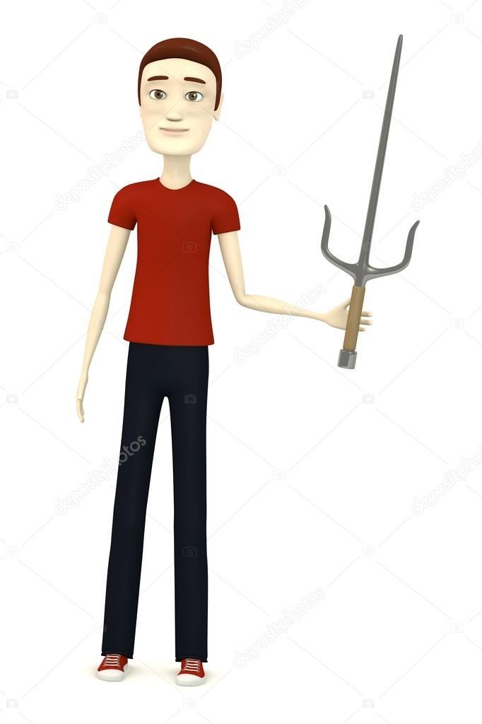 3d render of cartoon character with sai weapon — Stock Photo