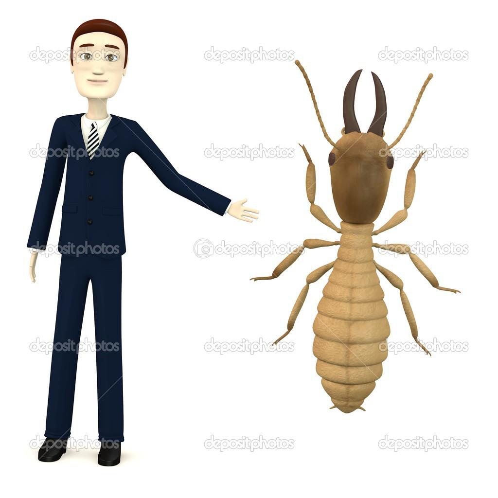 render 3D del personaje de dibujos animados con Guerrero termitas ...