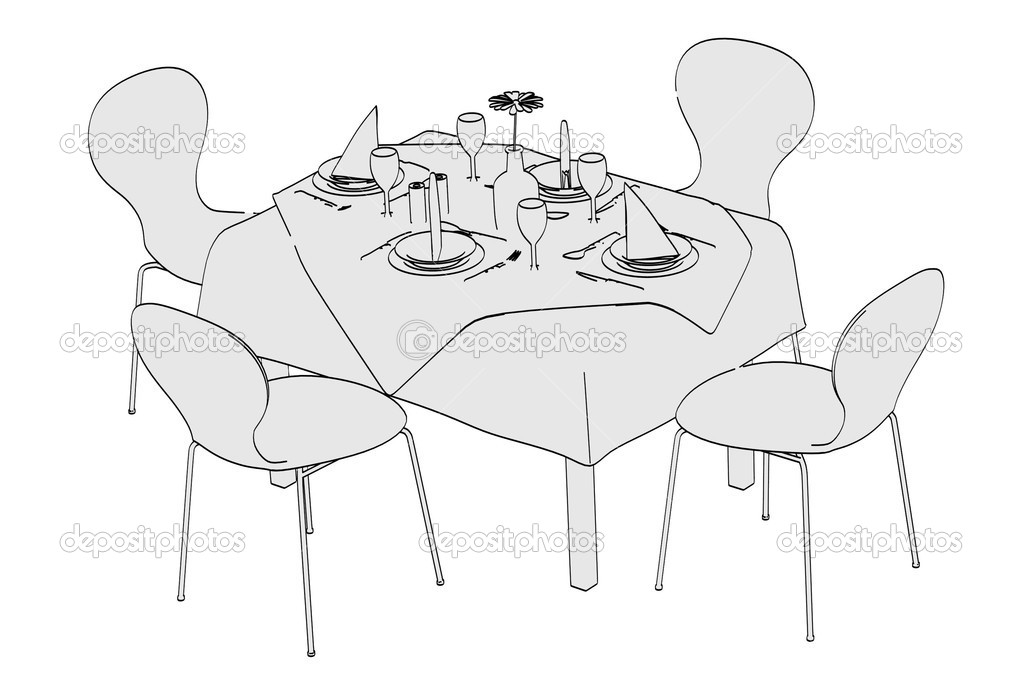 image de dessin anim de table restaurant photographie. Black Bedroom Furniture Sets. Home Design Ideas