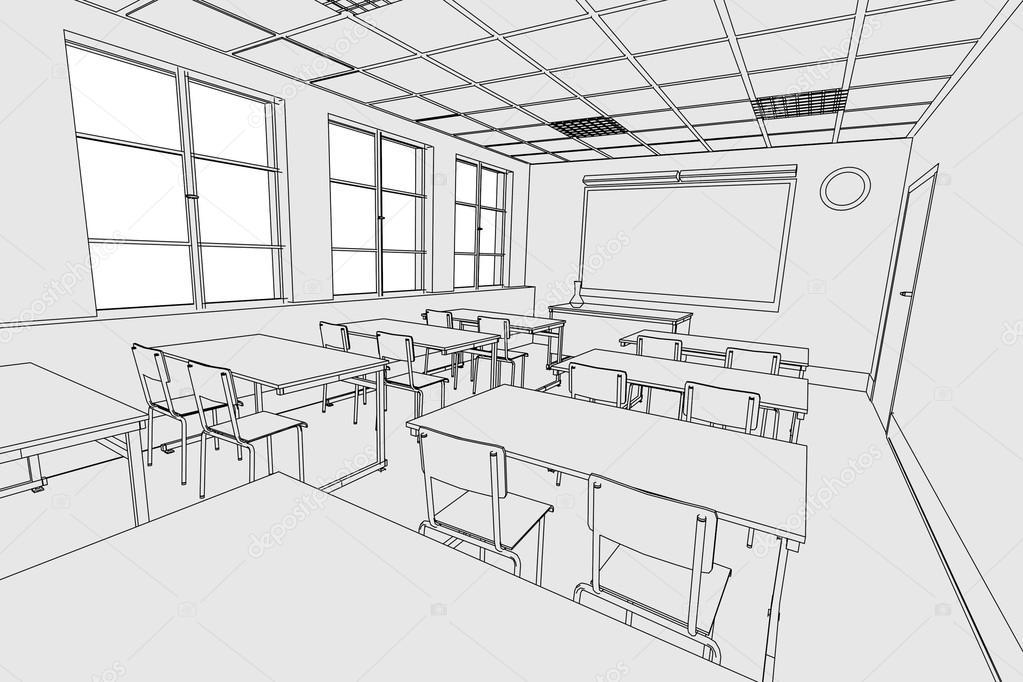 Image de dessin anim de l 39 int rieur de la salle de classe photographie 3drenderings 38154027 - Dessin de classe d ecole ...