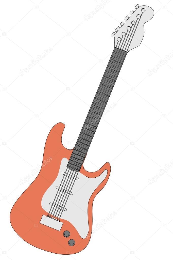 Ilustración De Dibujos Animados De Guitarra Eléctrica Fotos De