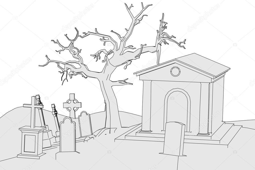 imagem dos desenhos animados do cemitério stock photo