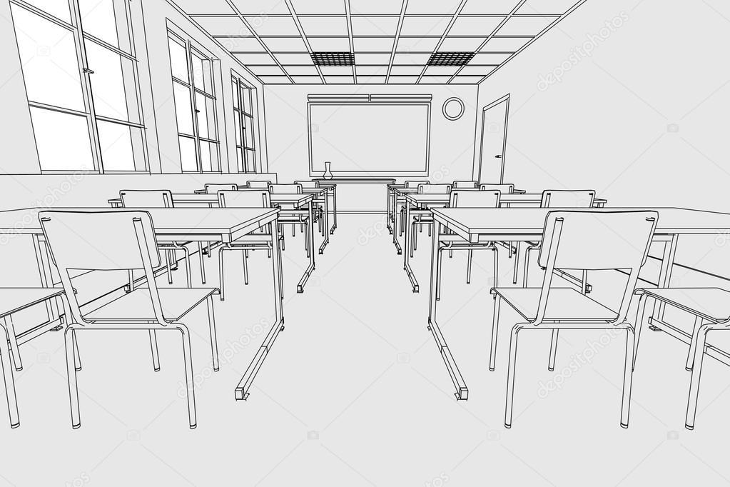 Image de dessin anim de l 39 int rieur de la salle de classe photographie 3drenderings 39241897 - Dessin classe ...