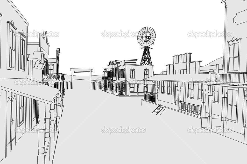 Image de dessin anim du village ouest photographie - Village dessin ...