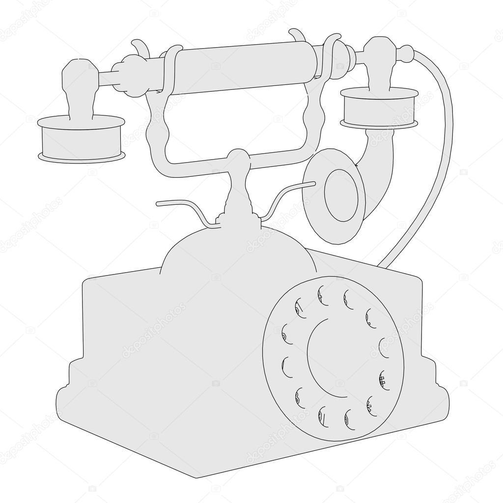 Cartoon image of old telephone — Stock Photo © 3drenderings