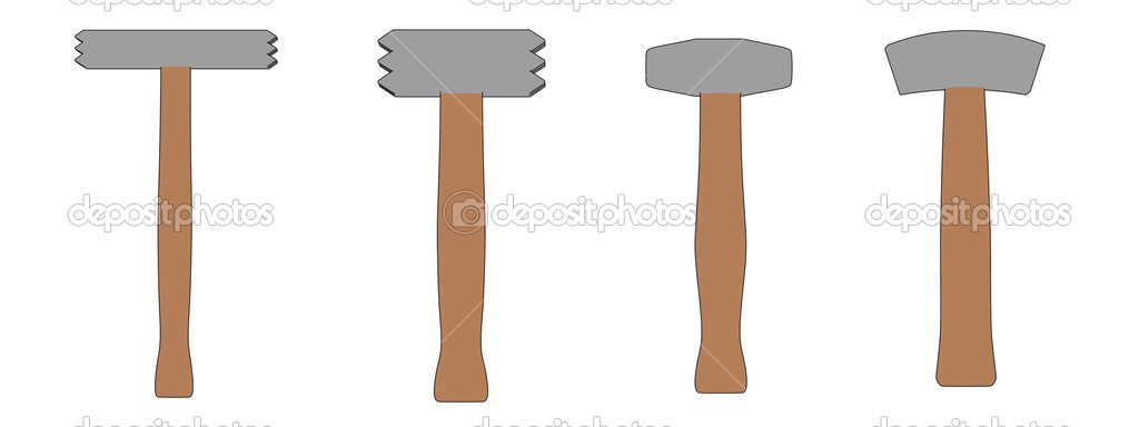 Cartoon illustration of stone hammers — Stock Photo