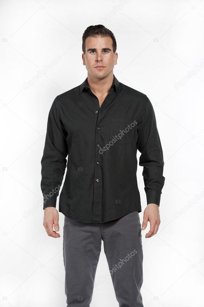 White Male in Black Shirt and Gray Pants — Stock Photo © eugenef ...