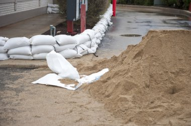 Pile of stacked sandbags