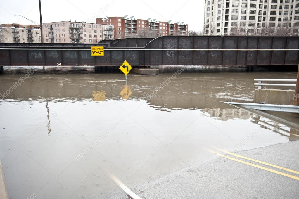 Flooded roadway in the Chicago area