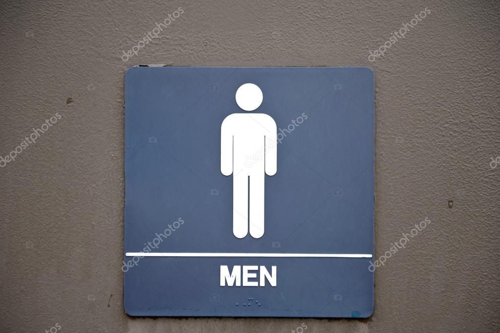 a navy blue mens bathroom sign on a brown door photo by eugenef - Mens Bathroom Sign
